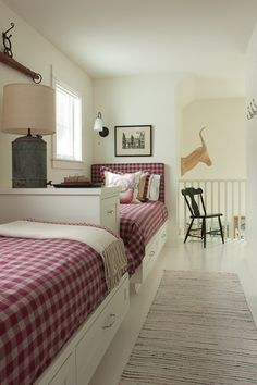 Home bunk beds for cottage home idea. Love the night light idea - up-cycled old container. Great space!