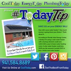 SAVE $$$ on your ENERGY BILL! How old is your water heater? How much money is going DOWN your drains?  A family of 4 using a solar water heater with a back-up element could SAVE $200-300 a year! A solar water heater could also SAVE you the amount it would COST to buy a whole new water heater! #TodayTip #Solar #EnergySaving