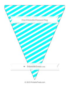 Free Aqua Blue Diagonal Stripes  Simple Pennant Flag