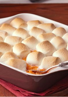 Baked Sweet Potatoes with Marshmallows — Baked sweet potatoes turn out even sweeter, creamier and more luscious when you add cream cheese, brown sugar and marshmallows to the recipe (1) From: Kraft Foods, please visit