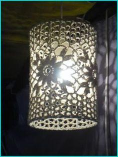 Crochet Decoration, Crochet Home Decor, Basket Decoration, Lampe Crochet, Crochet Lampshade, Crochet Designs, Crochet Patterns, Luminaria Diy, Lampshade Chandelier