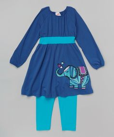 Love this Blue Elephant Banded Dress & Leggings - Infant, Toddler & Girls by nktoo by Nohi Kids on #zulily! #zulilyfinds