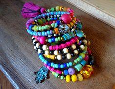 boho wrap bracelet. memory wire bracelet gypsy hippie by anainc