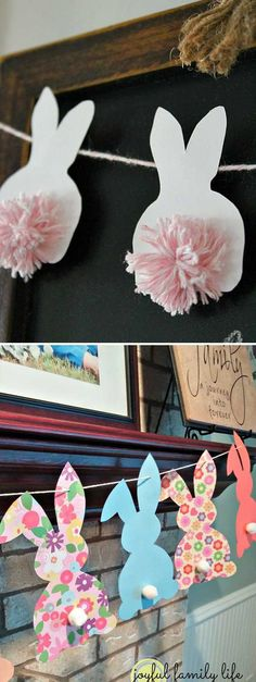 4. Make cute pom pom bunny  Easter bunting: Top 27 Cute and Money Saving DIY Crafts to Welcome The Easter