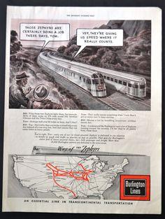 RARE 1943 Vintage Ad WWII Burlington Lines Trains - Zephyrs