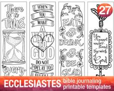 ECCLESIASTES - 4 Bible journaling printable templates, illustrated christian faith bookmarks, black and white bible verse prayer journal