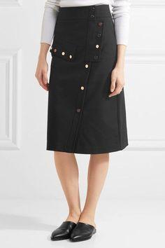 Tibi - Embellished Cotton-blend Cady Skirt - Black