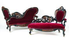 24 Red Velvet Chaise Lounge Sofa Designs In Victorian Style Victorian Furniture, Victorian Decor, Victorian Gothic, Victorian Homes, Vintage Furniture, Victorian Library, Furniture Styles, Unique Furniture, Diy Furniture