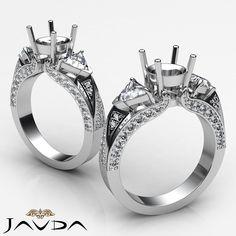 Trillion Round Diamond 3 Stone Semi Mount Unique Wedding Ring Platinum 950 1ct | eBay