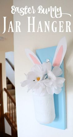 Make this Easter jar hanger using a mason jar. The perfect way to dress up your home for Spring with an Easter craft. #masonjar #masonjarcrafts #easter #eastercrafts