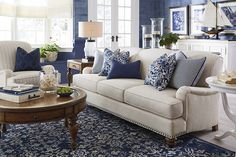 Essex Sofa by Bassett Furniture. Optional nail head trim is available.