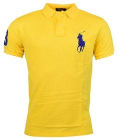 Polo Ralph Lauren Mens Custom Fit Big Pony Mesh Polo Shirt - XL - Yellow