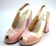 Pink Platform peeptoe heels pumps