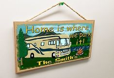 "camping signs personalized - Personalized ""Your Name\"" Mountains Home Is Where We Park It RV 5\"" x 10\"" SIGN Plaque Camping Decor Custom *** Visit the image link more details. (This is an affiliate link) #holidayblues"
