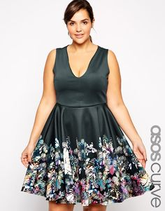 Image 1 ofASOS CURVE Exclusive Fit & Flare Dress In Border Butterfly Print