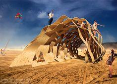 Timber Wave by Henry Turner Pavillion, Burning Man Art, Timber Roof, Organic Architecture, Pavilion Architecture, Residential Architecture, Contemporary Architecture, Playground Design, Wood Playground