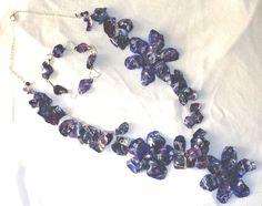 Parure necklace and bracelet with flowers and petals with petals plastic PET di ArtigianatoLiliana su Etsy