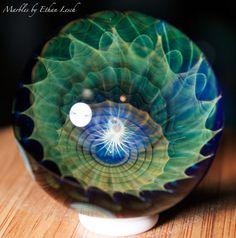 "1.43"" HANDMADE MARBLE BY ~ETHAN LESCH~ BOROSILICATE, BORO, ART, MIB #Glass"