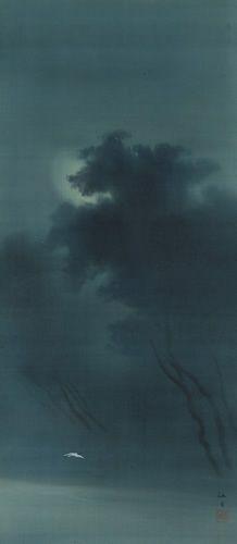 西郷 孤月 Kogetu Saigo『月下飛鷺』(1900)水野美術館蔵