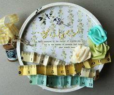 Life Mini Album - embellished card stock pages between two wooden embroidery hoops - just smashing!  :)