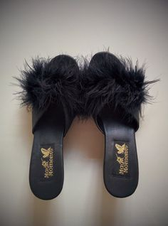 Vintage 80's Marabou Shoes Black Stain Wedge Slides by BetaGoods, $32.00