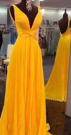Deep V-neck A-line Long Prom Dress Wedding Party Dress Formal Dress Dance Dress PDS0490