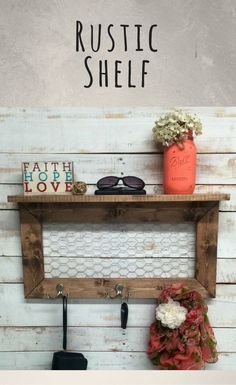 Farmhouse style shelf great for an entryway or mud room! Rustic Home Decor, entry way shelves, entryway shelf, coat rack, coat rack with shelf, wire shelves, wire shelf, shelf with hooks, Farmhouse decor, Rustic decor #ad