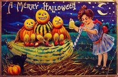 1910 Vintage Postcard- A Merry Halloween Vintage Halloween Images, Retro Halloween, Halloween Pictures, Halloween Town, Vintage Holiday, Holidays Halloween, Scary Halloween, Halloween Ideas, Vintage Images