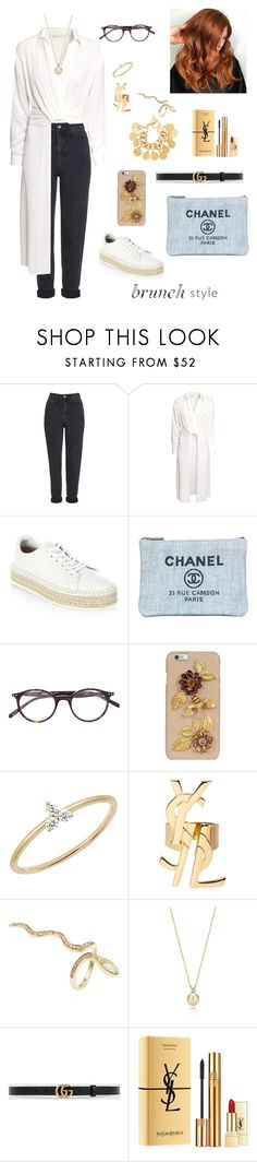 """#175"" by tamara-wolfram ❤ liked on Polyvore featuring Topshop, H&M, rag & bone, Chanel, CÉLINE, Dolce&Gabbana, EF Collection, Yves Saint Laurent, Jacquie Aiche and Gucci"