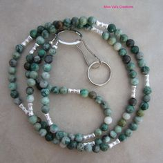 Ching hai jade and silver lanyard for your ID badge, keys and more!
