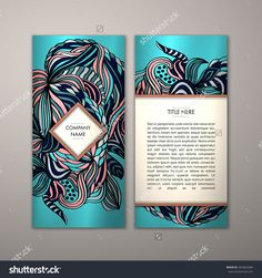 Flyer Template With Abstract Ornament Pattern. Vector Greeting Card Design. Front Page And Back Page. - 465062684 : Shutterstock