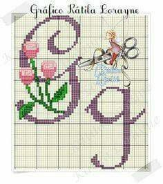 Gg Violet with Pink Flowers Cursive Upper & Lowercase Alphabet Cross Stitch Pattern S Monogram, Monogram Alphabet, Cross Stitch Letters, Stitch 2, Cursive, Pink Flowers, Stitch Patterns, Projects To Try, Embroidery