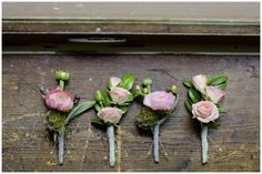 pretty pink boutonnieres