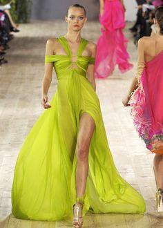 Chartreuse catwalk green dress