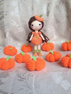 Halloween Crocheted pumpkin doll
