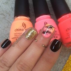 Neon, Black and Gold Nail Design for Summer