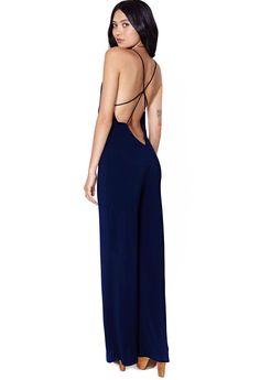 Blue Deep V Neck Criss Cross Slim Jumpsuit - Sheinside.com