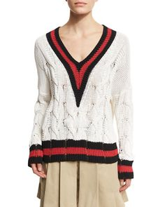 Emma Varsity-Stripe Cable Knit Sweater, White/Red/Black by Rag