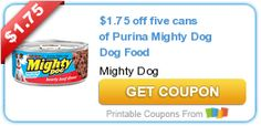 $1.75 off five cans of Purina Mighty Dog Dog Food