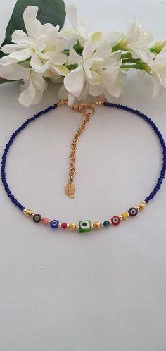 Blue Choker, Beaded Choker, Turkish Eye, Badass Style, 3 Shop, Evil Eye Necklace, Handmade Decorations, Middle East, Infinity