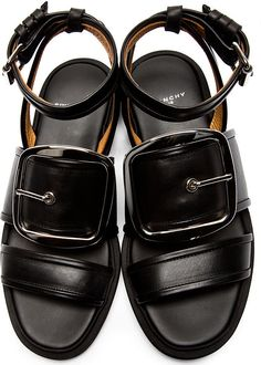 Givenchy Black Oversized Buckle Sandals