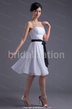 White Chiffon Strapless Hourglass Sleeveless A-Line Bridesmaid Dresses