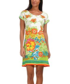 White & Orange Floral A-Line Dress #zulilyfinds