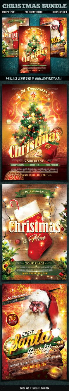 Four Colorful Christmas Tree And Brush Flyers Template PSD - holiday flyer template example 2