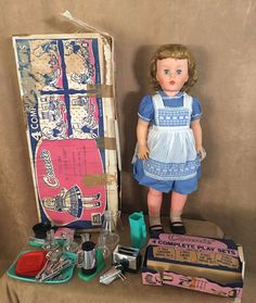 """Connie 1950s Vintage Reading 30"""" in box lot Patti Playpal Doll Playset Dishes  #Reading #DollswithClothingAccessories"""