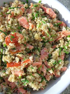 salmon and quinoa salad, add some arugula and it would be even better, i bet.