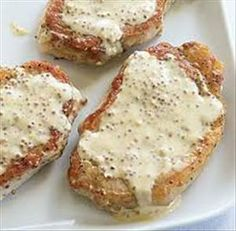 Blogghetti Roasted Rosemary Pork Chops With Honey Mustard Cream Sauce Meals With Meat Pinterest Rosemary Pork Chops Mustard Cream Sauce And Honey