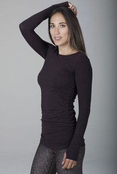 Add classic style to your wardrobe with the Side Ruched Long Sleeve Top from Kira Grace. This Coffee colored long sleeved top features full length sleeves, thumbholes, and super flattering ruching on the sides, boasting effortlessly chic style. Dress Up, High Neck Dress, Yoga Tank Tops, Hot Pants, New Fashion, Black Tops, Long Sleeve Tops, Menswear, Sleeves