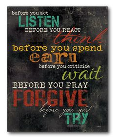'Before You Act Listen' Gallery-Wrapped Canvas #zulily #zulilyfinds