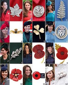 Brooches worn by Kate: 1: The Canadian Maple Leaf brooch was given to Queen Elizabeth (who later would be the Queen Mother) by her husband King George VI upon their tour of Canada in 1939 and she treasured it until her death. Since then, the Queen, Duchess Camilla and Duchess Catherine have all worn the piece; the maple leaf is the national symbol of Canada.  Kate was also given this diamond pave polar bear brooch by the Canadian government but she has yet to wear it. 2: According to…